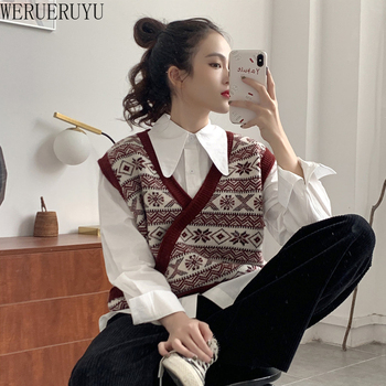 WERUERUYU Vest Women Solid Short Loose Trendy Korean Style Sleeveless Knitted V-Neck All-match Female Coats Simple Leisure