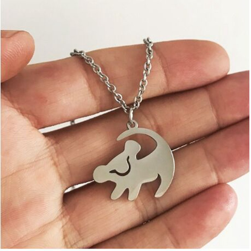 Stainless Steel Lion King Necklace Gold Silver Color Pendant Classic Hakuna Matata Kid Cartoon Jewelry <font><b>BFF</b></font> Gift Choker Wholesale image