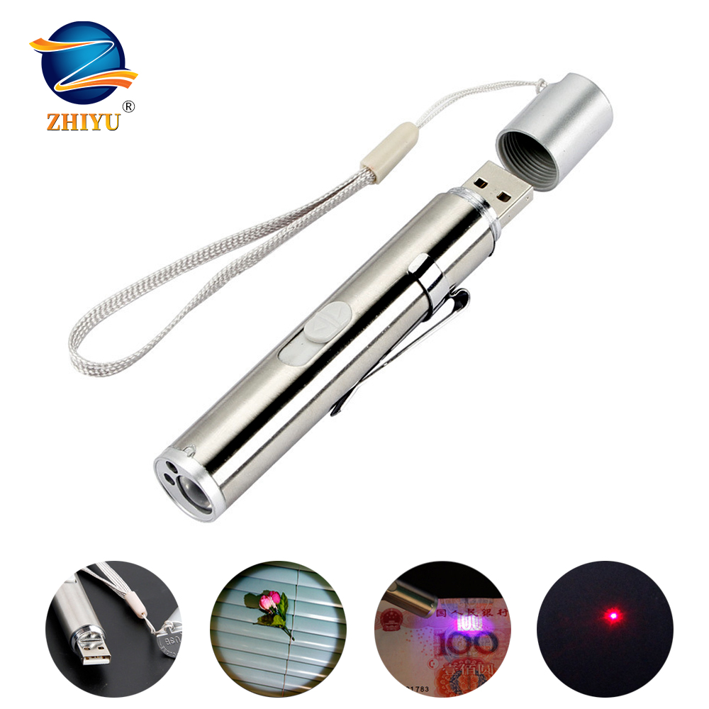 ZHIYU LED Flashlight Rechargeable Lighting,currency Detector, Infrared Three-in-one Multi-function Mini LED Torch With Pen Clip