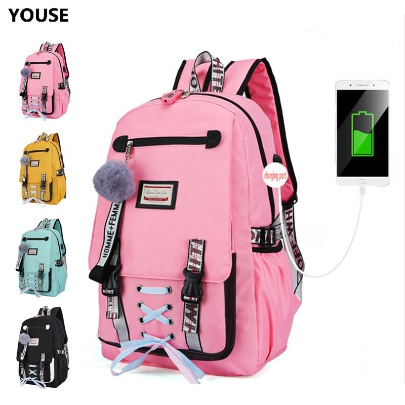 Large School Bag School Bag Backpack Girl Backpack School Backpack Female Teen With Lock Usb Anti-theft Teens High School