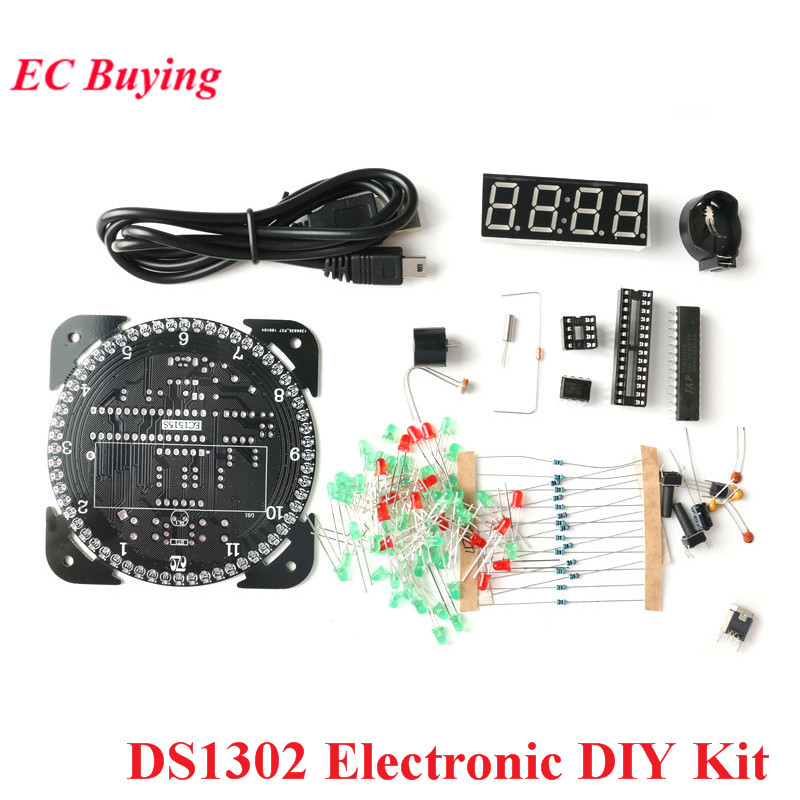 Rotating DS1302 Digital LED Display Module Alarm Electronic DIY Kit Digital Clock LED Temperature Regulator Learning Board 5V