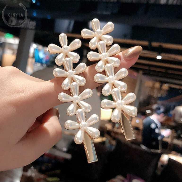In Imitasi Mutiara Bunga Rambut Klip dengan Dua Sisi Model dan Retro Bergaya Mutiara Klip Perhiasan Jepit Rambut Wanita Rambut Aksesoris