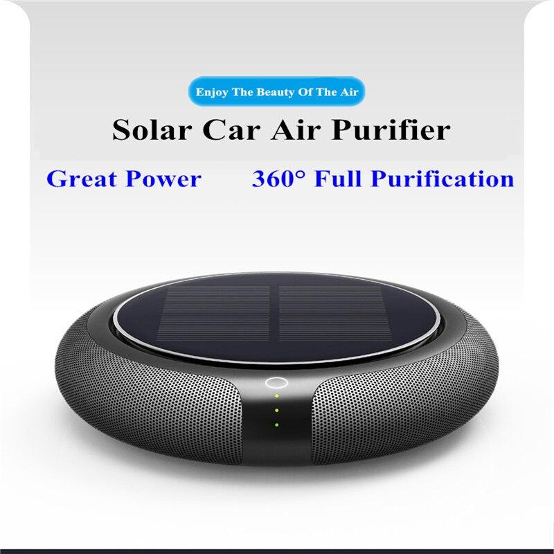 Carro Solar Purificador de Ar portátil Veículo Casa Nenhum Ruído Filtro De Energia Solar Limpa Purificar Ânion Ionizador Purificador de Ar de Alta Velocidade