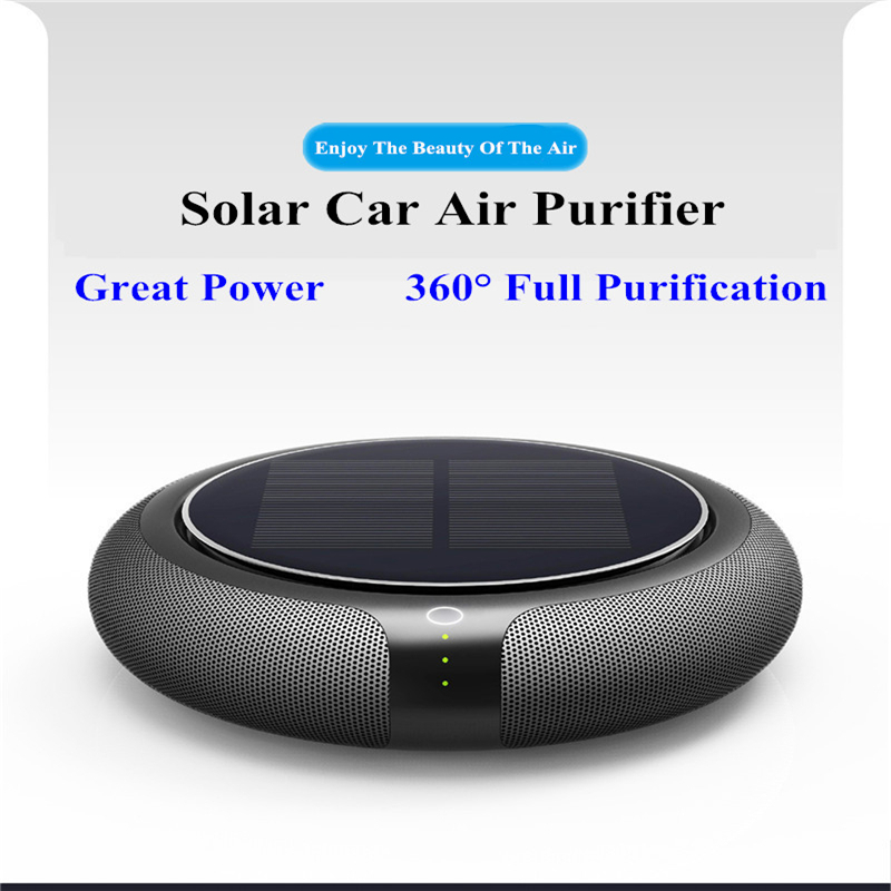 Portable Solar Car Air Purifier Vehicle Home No Noise Solar Power Filter Cleaner Purify High Speed Ionizer Anion Air Purifier