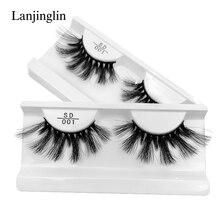 LANJINGLIN 1 pair 25mm lashes 3d mink false eyelashes natural long strip cruelty free fake eyelash extension makeup faux cils