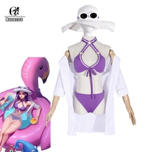 ROLECOS LOL Caitlyn Cosplay Costume Pool Party Swimwear Women Swimsuit Girl Outfit Game LoL Bikini