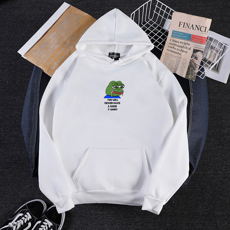 Winter Women Casual Players Sad Frog Print Hip Hop Japanese Hoody Fleece Sweatshirt Hoodies Streetwear Sudadera Mujer 2019