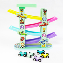 Wooden Train 6-Layer Race Track & 4 Mini Inertia Race Car Sliding Toy Vehical &Train Baby Toddler Motor for Kids car track professional race lap timer applies to track car motorcycle karting car bike