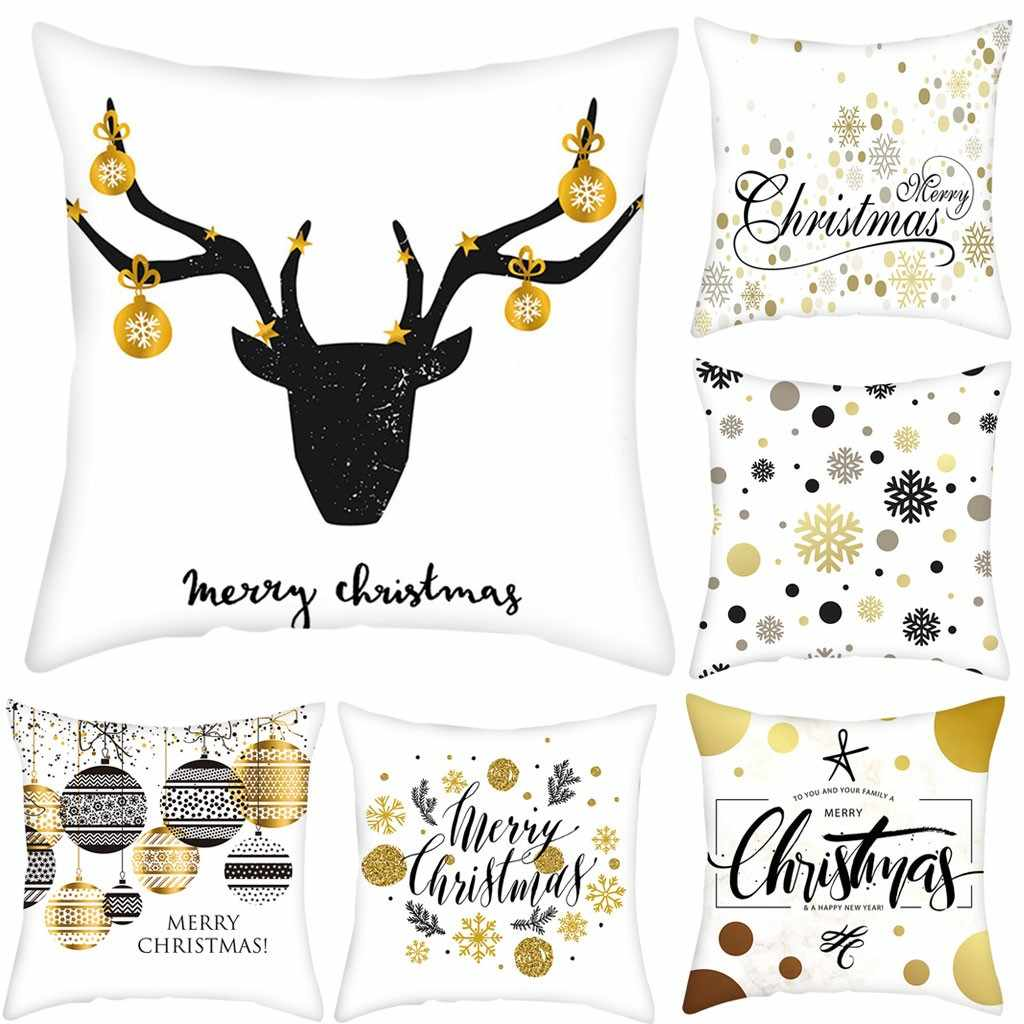Gold Merry Christmas Pillow Case Nordic Sofa Cushion Cover Home Decoration Pillow Cover Housse de Coussin Cojines Pillowcases