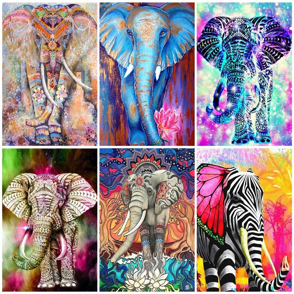AZQSD алмазная живопись 5d слон полный квадрат/круглая дрель Алмазная вышивка животное домашний декор Стразы подарок рукоделие|Алмазная роспись, вышивка крестом|   | АлиЭкспресс