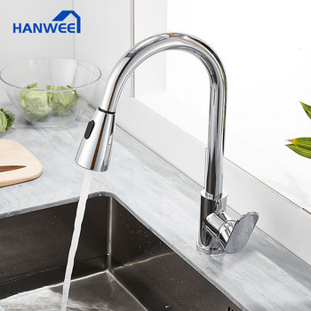 Hanwee Chrome Kitchen Faucets Pull Out Kitchen Sink Mixer Tap Single Handle Water Mixer Tap Kitchen 360 Rotation Mixer Tap gappo kitchen faucets pull out kitchen single handle rotatable sink faucets water mixer water sink mixer tap robinet cuisine