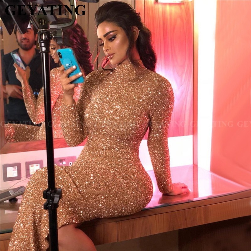Arabic Rose Gold Muslim Evening Dress Long Sleeves High Neck Dubai African Formal Dresses With Slit Champagne Red Carpet Gowns