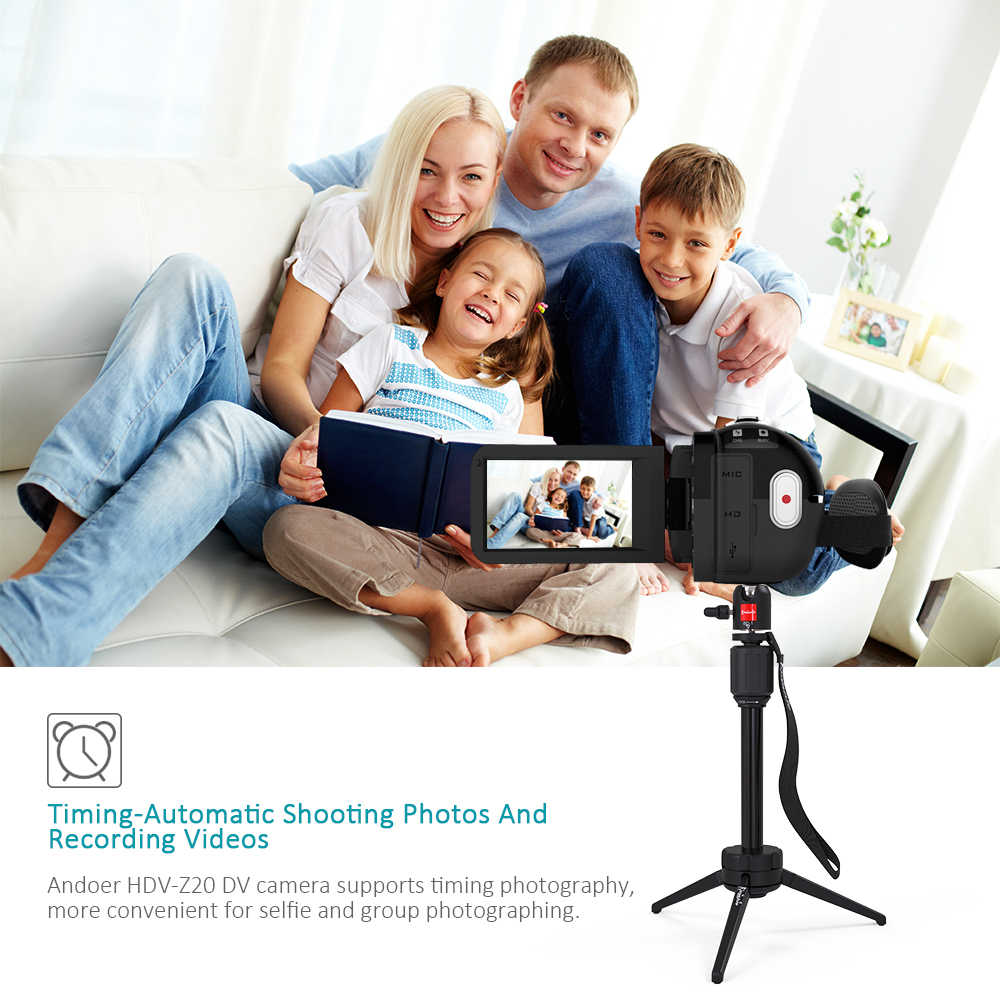 Videocámara portátil Andoer HDV-Z20 1080P videocámaras digitales Full HD pantalla táctil WiFi Control remoto videocámara profesional