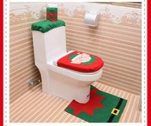 2019 New Christmas toilet three-piece Santa Claus toilet seat pad water tank cover paper towel set