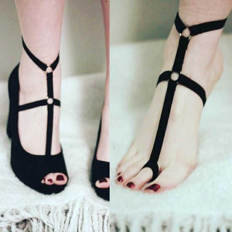 女性のセクシーな足の装飾 2 色ポリエステル足包帯ベルト足ガーター S-XL