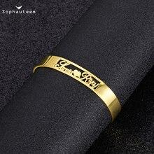 На заказ персонализированный нержавеющая сталь золото цвет шарм браслеты лазер гравировка открытый манжета +браслет браслет для женщин ювелирные изделия подарок
