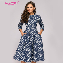 S.FLAVOR 여성을위한 프랑스 스타일 빈티지 드레스 우아한 꽃 인쇄 슬림 가을 a 라인 Vestidos 클래식 겨울 여성 미디 드레스