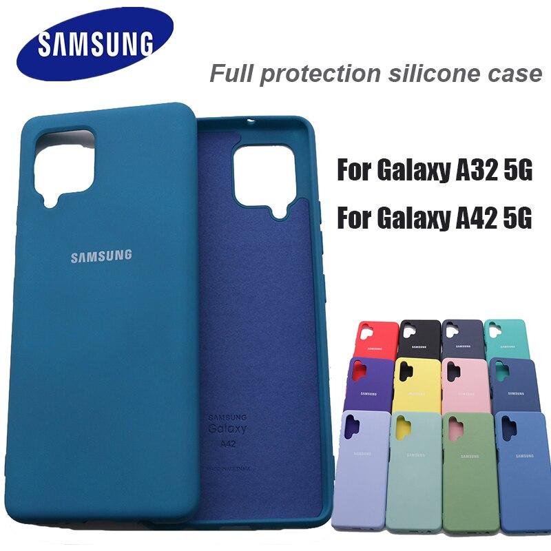 Samsung Galaxy A32 A42 шелковистые силиконовый чехол из мягкого на ощупь отделка задней защитный чехол для Samsung a42 5g a32 5g чехол с логотипом