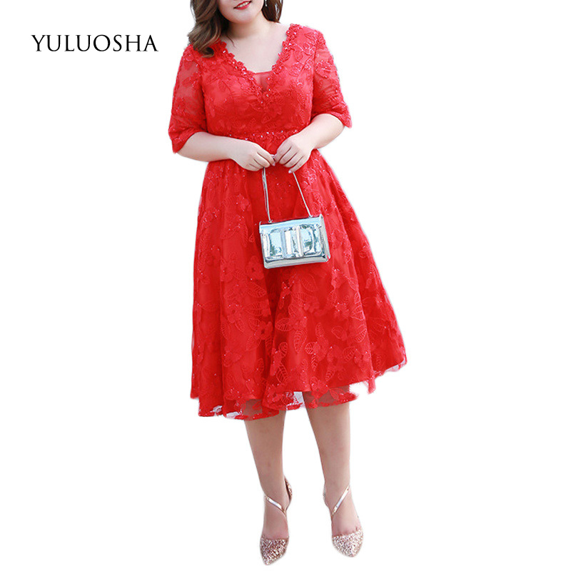 YULUOSHA Mother of The Bride Dresses Appliques Evegant Short Dresses Mother Groom Lace Dress Kurti for Women Vestidos De Novia