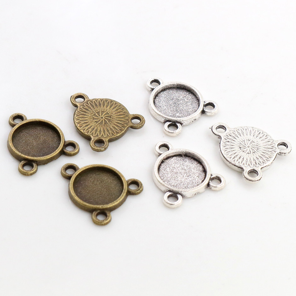 50pcs 8mm And 10 Mm Inner Size Antique Bronze And Silver Color Three Hanging Style Cabochon Base Cameo Setting Charms Pendant