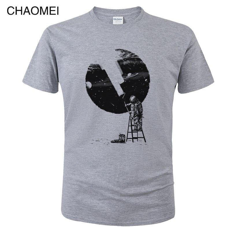 2019 Fashion Tshirt Funny Astronaut Painter Paint Print T Shirt Short Sleeves O-neck Fitness Tee Shirts Tops Unisex Tees C03
