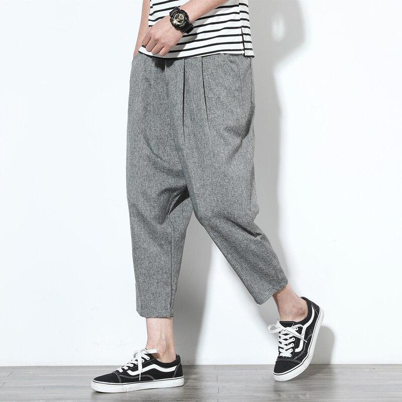 2019 Sinicism Fashion Men Nature Cotton Linen Trousers Summer Pants Casual Male Solid Slim Straight Loose Pants Plus Size S-5XL