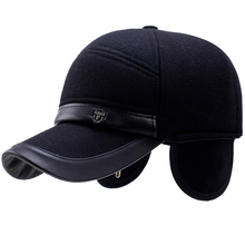 HT2721 Autumn Winter Caps for Men Wool Felt Baseball Cap Thick Warm Dad Hats with Ear Flap Leather Brim Baseball Hat Earflap Cap