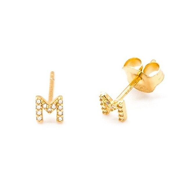 925 Sterling Silver Earrings For Women Initial Letter Earrings Girl Crystal Zircon Letters Piercing Earrings Punk Men aretes R5