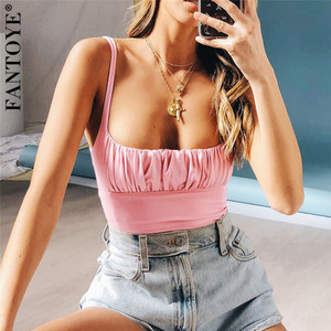 FANTOYE Women Summer Fashion Ruched Camisole Sexy Mujer Backless Tank Top Streetwear Femme Mini Camis For Women Casual Crop Tops