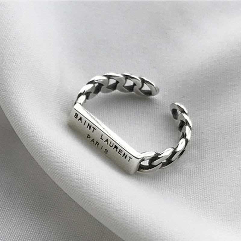 Open-Rings Jewelry Letter Punk Gifts Silver-Color Design Vintage Women Party for Metal