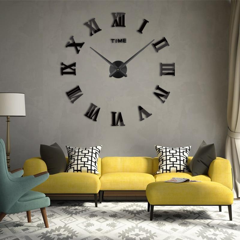 GJ 3D Wall Clock DIY Acrylic Mirror Wall Stickers 2019 New Modern Style Luxury Home Decor Large Roman Quartz Clocks Wall Clock
