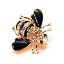 Broche de abelha esmalte broches cor champanhe strass hijab pinos juego de tronos halloween joyas alta qualidade
