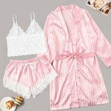 Plus Size Nighties Women Pajamas Satin Sleepwear Pijama Silk Home Wear Lace Home Robe Sleep
