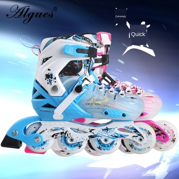 Roller Skates Full Suit Men and Women Adjustable Flash Inline Single Row Flat Skating Sneakers Boots 4 tekerlekli paten цена 2017