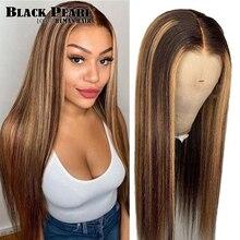 Destaque da fábrica do laço frente perucas de cabelo humano brasileiro em linha reta p4/27 ombre peruca de cabelo humano para as mulheres 150 densidade peruca dianteira do laço