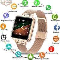 LIGE Legierung Edelstahl Smart Uhr Frauen Mode Wasserdicht Damen smartwatch Android ios Herz Rate Blutdruck Monitor