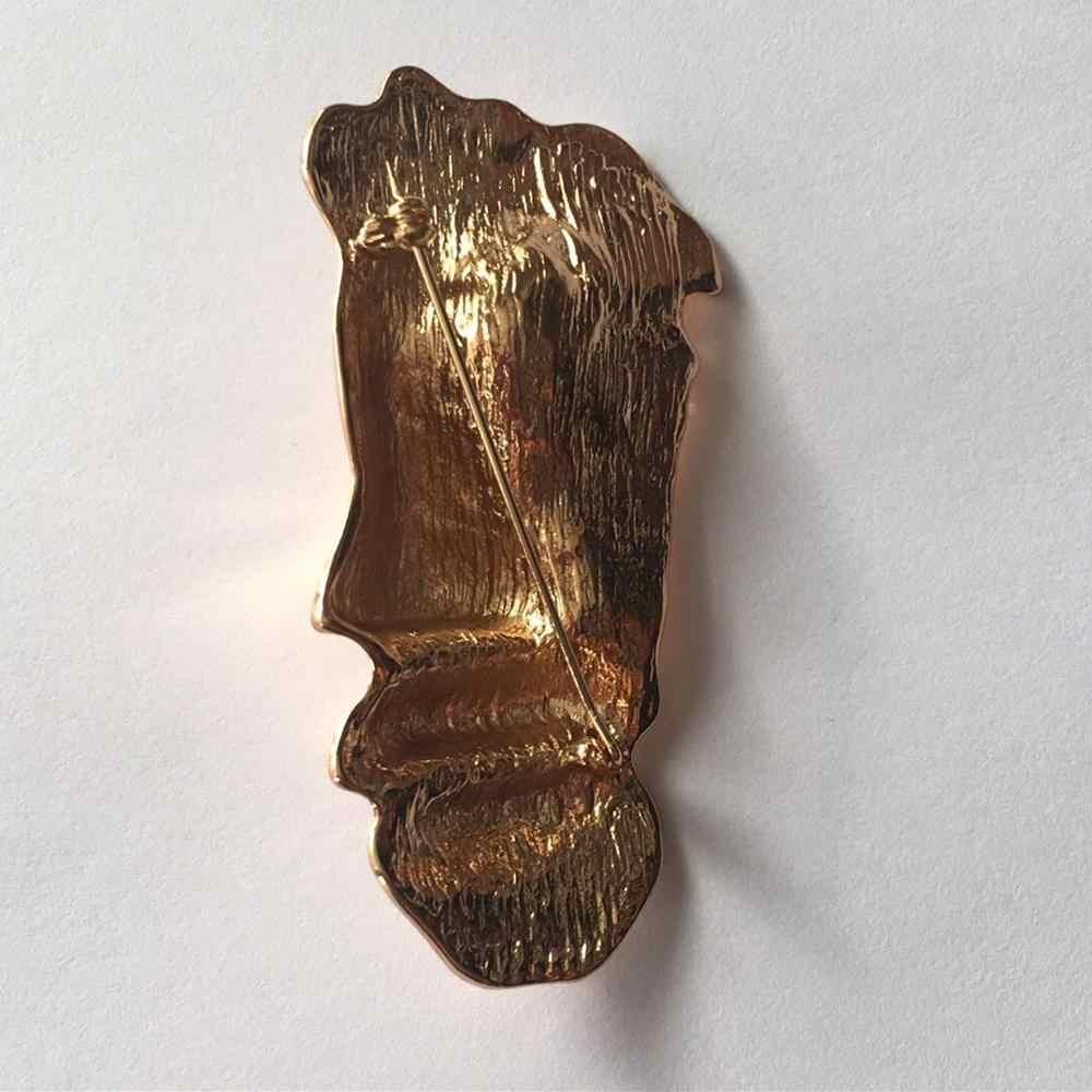 AOMU del Metallo di Modo Umani Viso Spilla Vintage Astratta Viso Maschera Spille Per Le Donne Del Partito Accessori Dei Monili