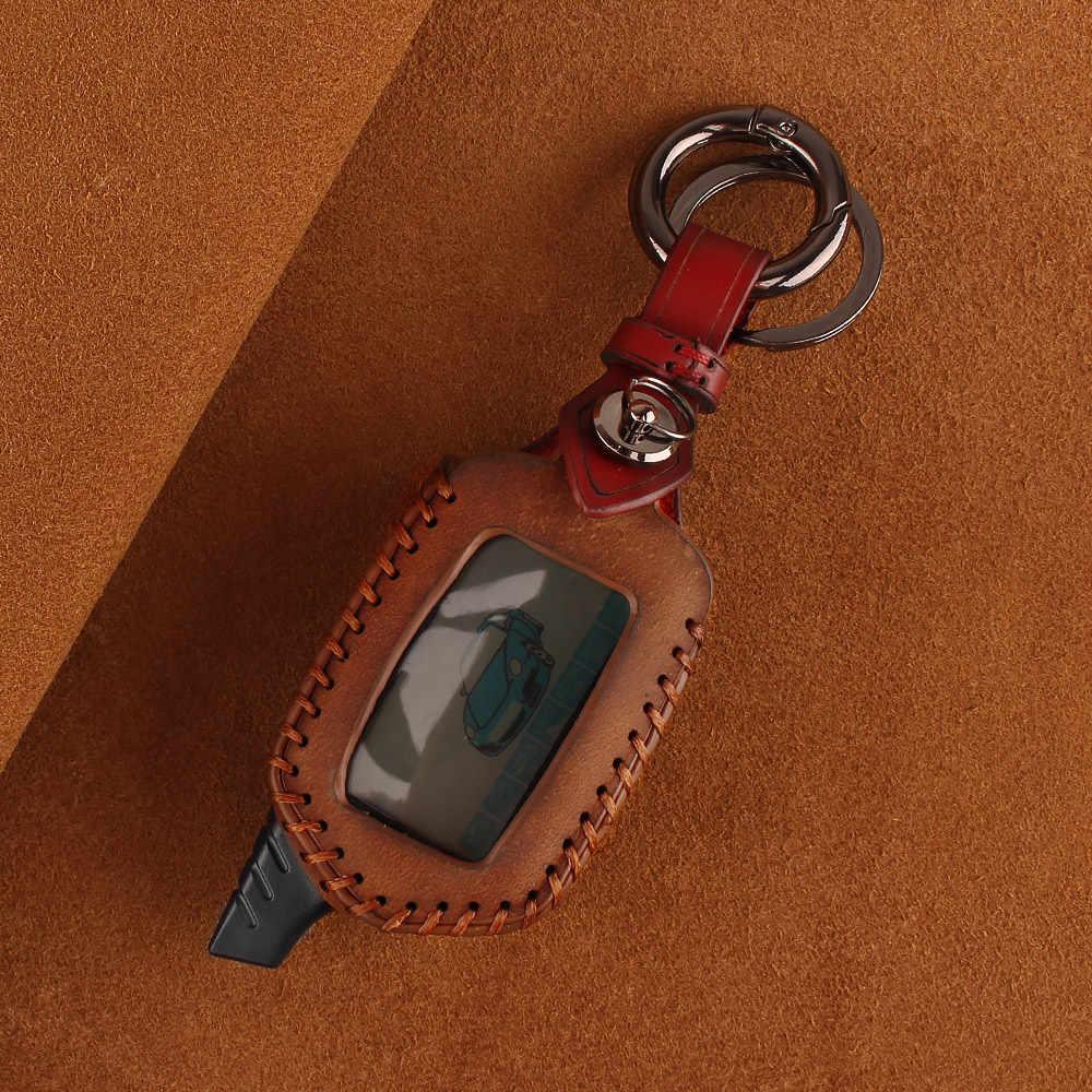 Keyyou 3 botão capa de couro b9/b6 fob para starline b9 b6 a91 a61 lcd caso chave 2 vias sistema de alarme de carro chaveiro carro-estilo