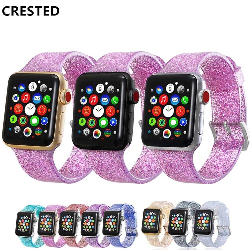 Correa con purpurina para Apple Watch, correa con correa para Apple Watch 5 4 3 correa de 40mm 44mm, correa de reloj de silicona de 38mm y 42mm