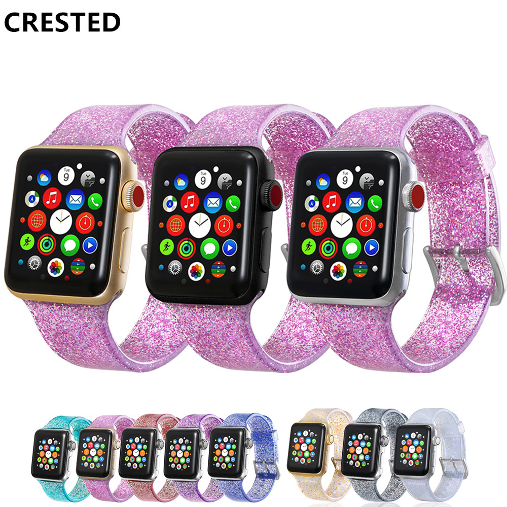 Glitter Strap for Apple Watch Band pulseira Apple Watch 5 4 3 correa 40mm 44mm iwatch band 38mm 42mm Silicone Bracelet watchband|Watchbands| |  - title=