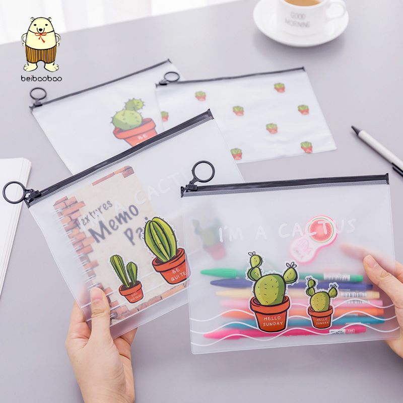 Beibaobao Fresh Cactus Transparent Scrub Cosmetic Bag Travel Makeup Case Ladies Make Up Organizer Storage Pouch Toiletry Women