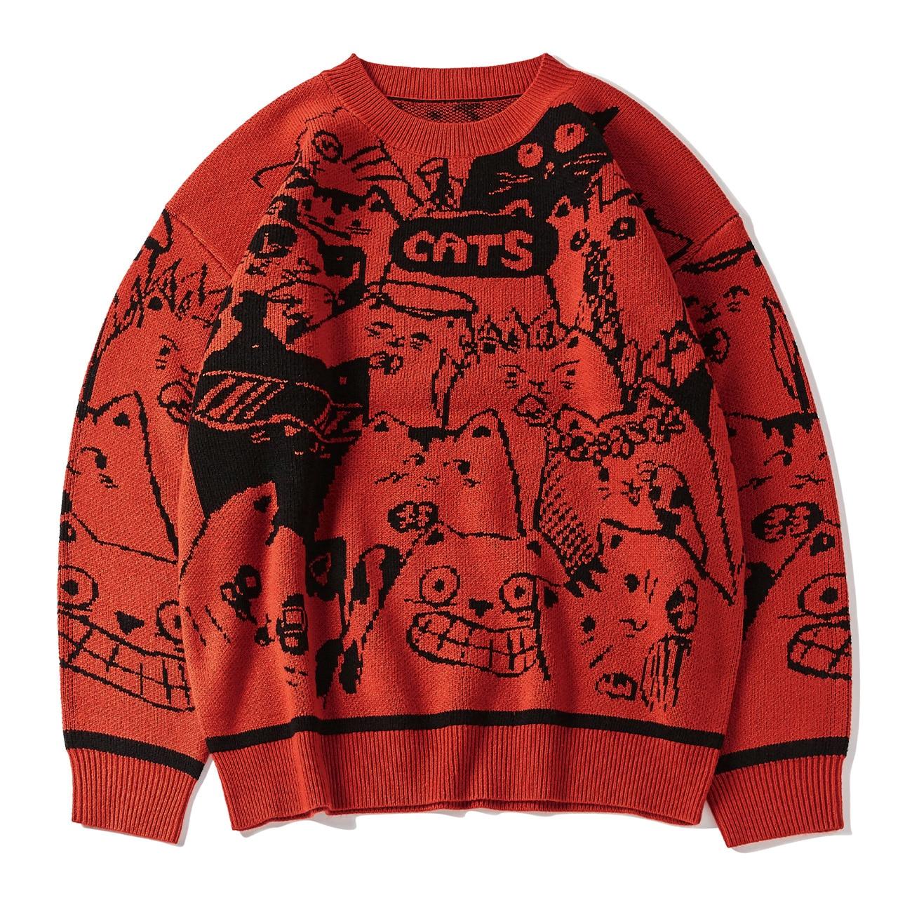 Hip Hop Streetwear Knitted Sweater Men 2021 Cartoon Cats Print Harajuku Sweater Oversize Cotton Loose Pullover Men Clothing Blue
