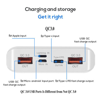 QC 3.0 מהיר טעינת USB כוח בנק סוללה מטען תיבת LED דיגיטלי תצוגת אור 8*18650 סוללה תיבת מטען עבור Huawei Iphone