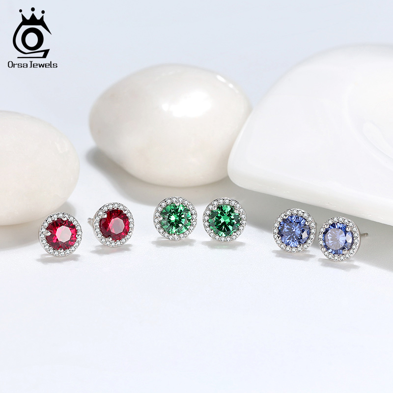 ORSA JEWELS Newest Round Stud Earrings S925 Elegant Sterling Silver Multi-color CZ Valentine's Day Gift Earrings Jewelry SE250