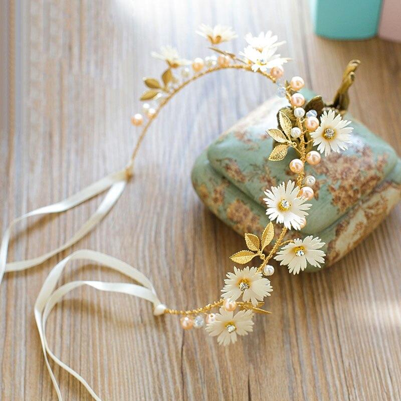 FORSEVEN Gold Leaf Daisy Flower Headband Bridal Tiaras Hair Jewelry Ribbon Wreath Pearl Headpiece Wedding Bride Hair Accessories