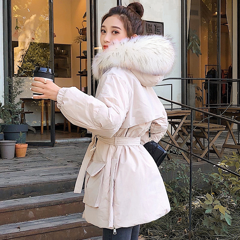 Winter Natural Real Raccoon Fur White Duck   Down   Jacket Women Long Sleeve Slim Sashes Parkas   Coat   Female Pockets Outwear