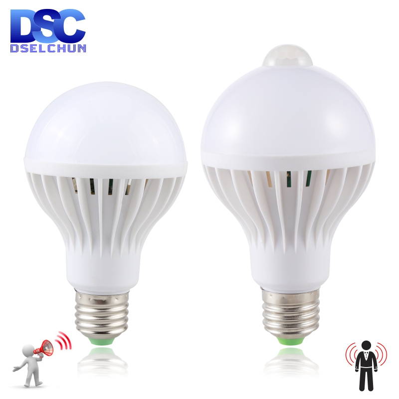 Led Bulb 3W 5W 7W 9W PIR Motion Sensor Lamp AC 220V 230V Auto Smart Led PIR Infrared Body Sound Light E27 Motion Sensor Light