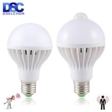 Led Bulb 3W 5W 7W 9W PIR Motion Sensor Lamp AC 220V 230V Auto Smart Led PIR Infrared Body Sound Light E27 Motion Sensor Light стоимость