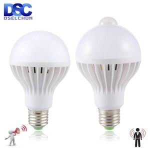 Led Bulb 3W 5W 7W 9W PIR Motion Sensor Lamp AC 220V 230V Auto Smart Led PIR Infrared Body Sound Light E27 Motion Sensor Light(China)