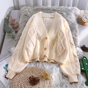 Lantern Sleeve Cardigan Knitted Sweater Women 2021 Autumn Winter Long Sleeve Solid Sweaters Coat & Jackets Women S-XXL 1